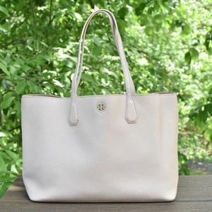 Tory Burch Brody Perry Light Oak Leather Tote